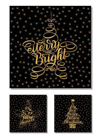 Set New Year Greeting Cards, lettering design. illustration isolated on black background with golden stars and letters. 365 new chances, merry and bright, New Year and Christmas Wish tree