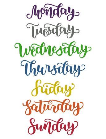 Beschriftung Wochentage Sonntag, Montag, Dienstag, Mittwoch, Donnerstag, Freitag, Samstag. Moderne bunte Kalligraphie, isoliert auf weiss. Illustration. Pinseltintenhandling für den Zeitplan