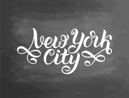 Greetings from New York City, USA. Typography poster, lettering design. Hand drawn brush calligraphy, text for t-shirt, post card, poster.  illustration. Chalkboard textured background.