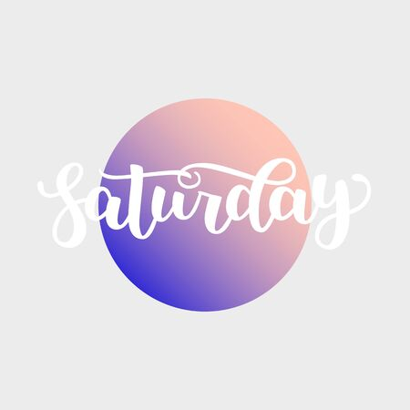 Saturday. Handwriting font by calligraphy. illustration on colorful gradient background.  Brush white lettering. Day of Week Фото со стока