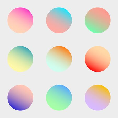 Round gradient set with modern abstract backgrounds. Colorful fluid covers for calendar, brochure, invitation, cards. Trendy soft color. Template with round gradient set for screens and mobile app.