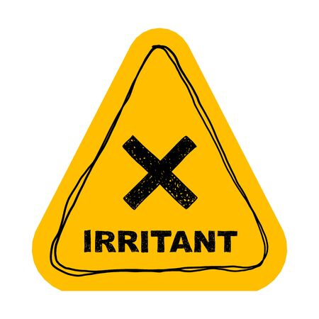 Yellow irritant triangle sign. Vector illustration isolated on white.