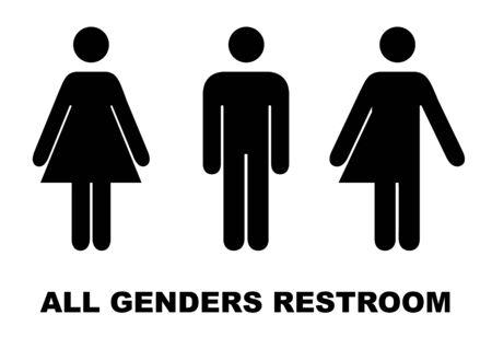 All gender restroom sign. Male, female transgender. Vector illustration. Vetores