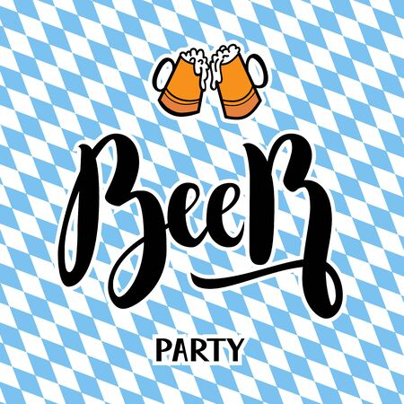 Traditional German Oktoberfest bier festival with text Beer party. Vector lettering illustration Ilustrace