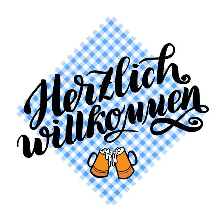 Herzlich willkommen. Welcome. Traditional German Oktoberfest bier festival . Vector hand-drawn brush lettering illustration isolated on white.