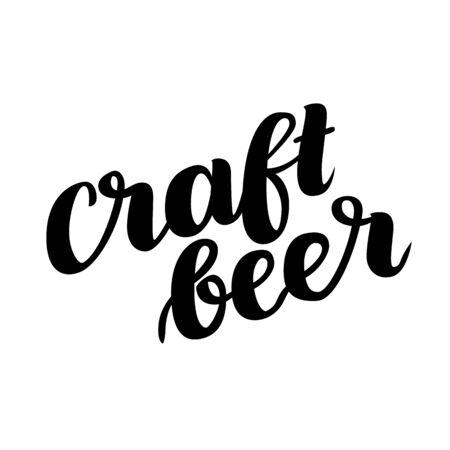 Craftbeer. Traditional German Oktoberfest bier festival. Vector hand-drawn brush lettering illustration isolated on white