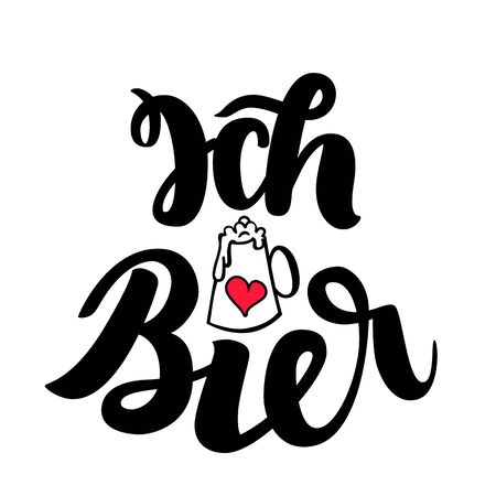 Ich liebe Bier. I love Beer. Traditional German Oktoberfest bier festival. Vector hand-drawn brush lettering illustration isolated on white