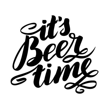 it s beer time. Traditional German Oktoberfest bier festival. Vector hand-drawn brush lettering illustration isolated on white
