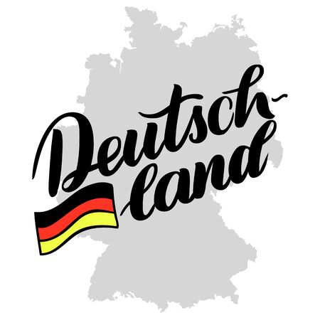 Deutschland hand drawn lettering with flag. Vector lettering illustration isolated on white. Template for Traditional German Oktoberfest bier festival