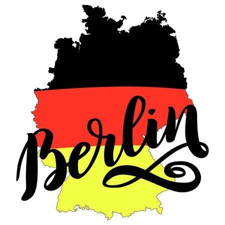 Berlin hand drawn lettering. Vector lettering illustration isolated on white. Template for Traditional German Oktoberfest bier festival Ilustrace