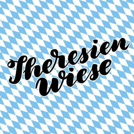 Theresienwiese hand drawn lettering. Vector lettering illustration isolated on white. Template for Traditional German Oktoberfest bier festival.