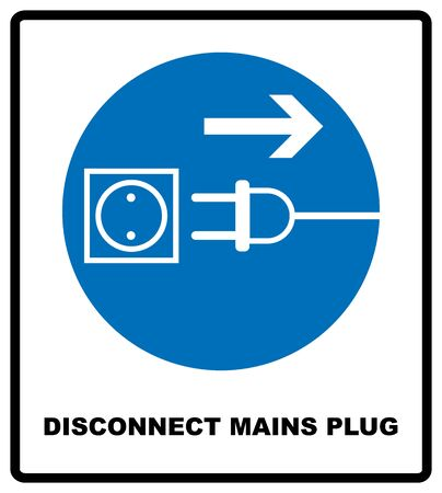 Disconnect mains plug from electrical outlet sign. Blue mandatory symbol. Vector illustration isolated on white. White simple pictogram  イラスト・ベクター素材