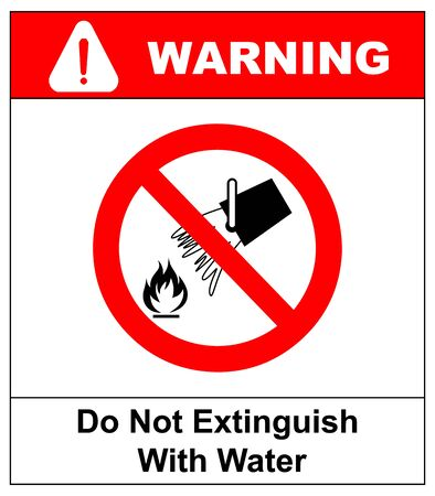 Do not extinguish with water, prohibition sign, vector illustration.