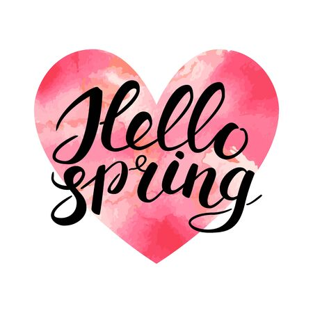 Phrase Hello spring Brush Pen lettering. Handwritten vector Illustration on watercolor colorful heart isolated on white. White brush handlettering