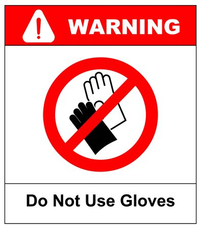 Do not wear gloves, prohibition sign, vector illustration.