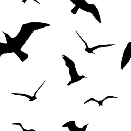 Silhouettes seagulls. Vector Black pattern wall decor