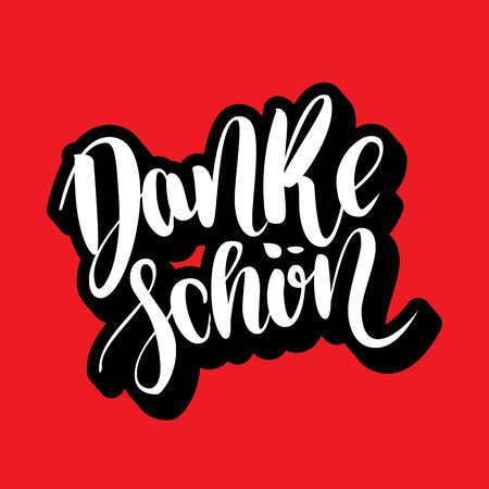 Danke schoen. Thank you in german. Vector hand drawn brush lettering on colorful background.
