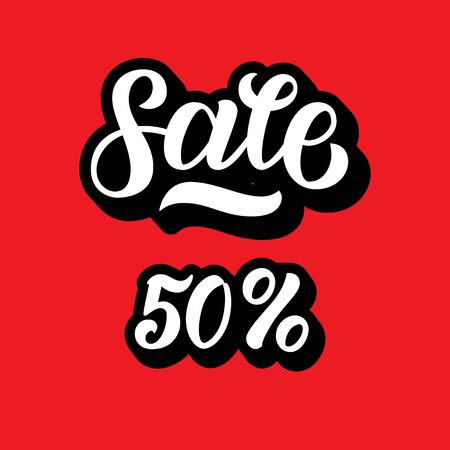 A sale discount set with 50 percents and volume 3D . Sale lettering on red background. Vector illustration. Hand lettered calligraphy for   banners, labels, badges, prints, posters, web Ilustração