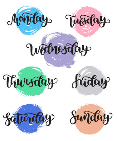 Lettering Days of Week Sunday, Monday, Tuesday, Wednesday, Thursday, Friday, Saturday. Modern Calligraphy Isolated on White with brush colorful circles. Vector illustration. Brush ink handlettering. Ilustração
