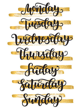 Lettering Days of Week Sunday, Monday, Tuesday, Wednesday, Thursday, Friday, Saturday. Modern Calligraphy Isolated on White with golden bands. Vector illustration. Brush handlettering for schedule