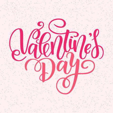 Happy Valentines day vector card. Greeting Card to Day of Saint Valentine. Vector illustration isolated on pink. Cute hand-written brush lettering. 14 february post card Banco de Imagens - 151483413