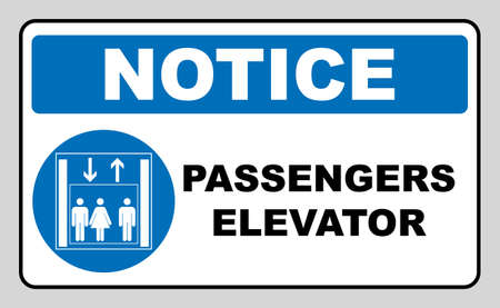 Passengers elevator sign. Lift vector icon. Vector illustration isolated on white background. Blue mandatory symbol. Notice banner. White simple pictogram. Illustration