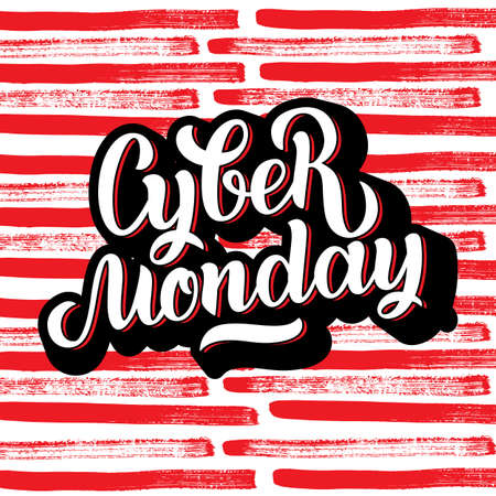 Cyber Monday Sale handmade lettering, calligraphy background for logo, banners, labels, badges, prints, posters, web. Vector illustration white letters in black volume