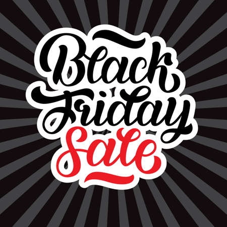 Vector illustration of black friday sale hand-made lettering on black rays background for logo, banners, labels, badges, prints, posters, web Ilustração
