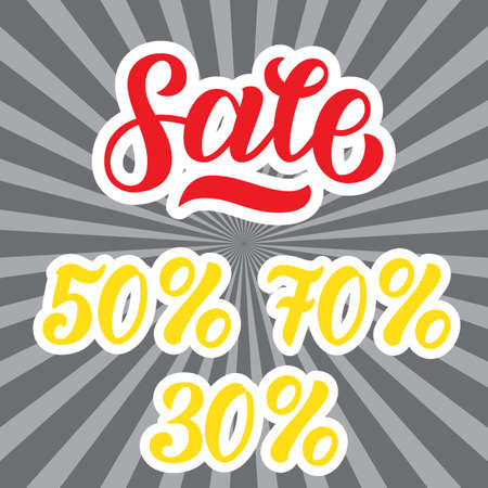 A sale discount set with percents and volume. Sale lettering on rays grey background. Vector illustration.