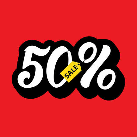 A sale discount 50 percents and volume 3D . Sale lettering on red background. Vector illustration