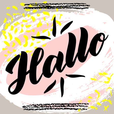 Hallo. Word hello, good day in German. Fashionable calligraphy. Vector illustration on abstract colorful background. Hand-drawn lettering Banco de Imagens - 151483266