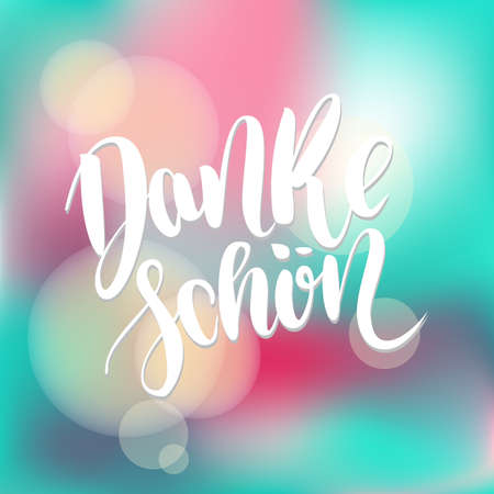 Danke schoen. Thank you in german. Vector hand drawn brush lettering on colorful background. Banco de Imagens - 151483271