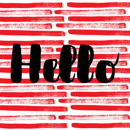 Hello. Vector hand drawn brush lettering on colorful background. Banco de Imagens - 151483273
