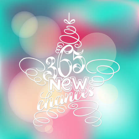 365 chances New Year Lettering in form of star tree toy, Greeting Card design circle text frame on blurred blue pink background.