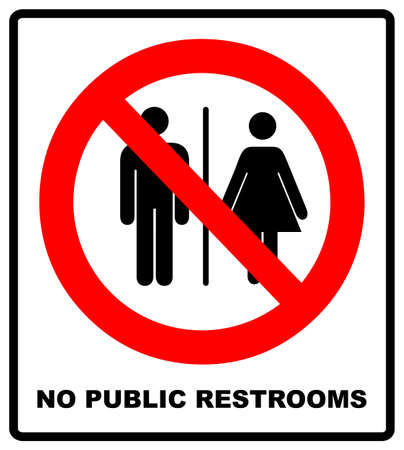 No public restrooms symbol. Do not pooping and peeing people sign. No WC. Warning red banner for outdoors and forests with male, female silhouettes. Prohibition vector illustration isolated on white Ilustração