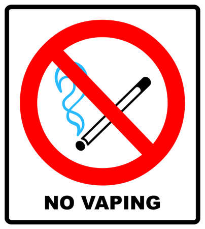No vaping sign. Do not smoke electronic cigarette symbol. Vector illustration isolated on white. Warning forbidden red icon for public places, ready to use