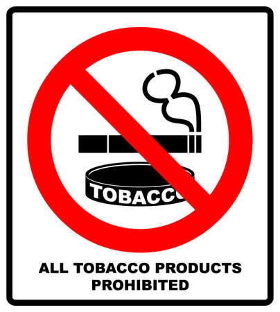 All Tobacco Products Prohibited Icon. No Smoking Sign. Vector illustration isolated on white background. Warning Forbidden Symbol, Black pictogram in red circle Ilustração