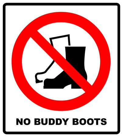 No Muddy Boots Symbol. Rain boots prohibition sign. Red warning prohibition icon. Vector illustration isolated on white. Black simple pictogram. Take off your shoes