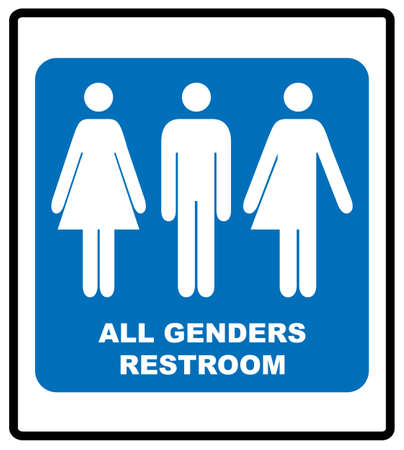 All gender restroom sign. Male, female transgender. Vector illustration. Ilustração