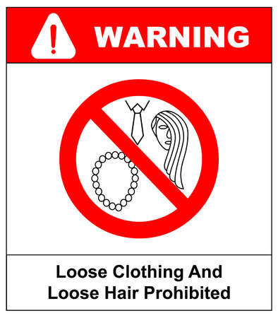Loose clothing and long hair prohibited sign. Operation with nacklace, tie or long hair forbidden icons. Vector illustration isolated on white. Warning safety symbol for working places