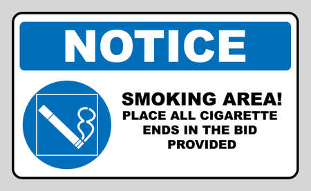 Smoking permited in this place icon. Smoking area. Round blue sign with white pictogram and black text. Vector illustration isolated on white. Mandatory symbol for public places and outdoors. Notice. Ilustração