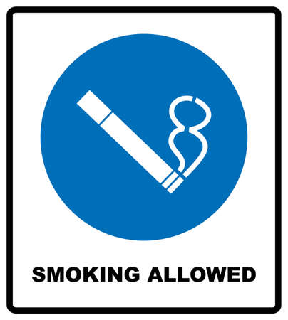 Smoking allowed icon. Round blue sign with white pictogram and black text. Vector illustration isolated on white. Mandatory symbol for public places and outdoors. Notice banner.