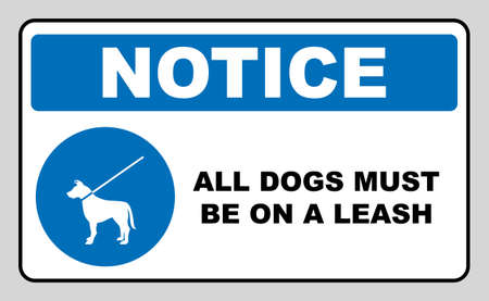 Dog on leash area icon. Dogs allowed sign. Vector illustration isolated on white. Blue mandatory symbol with white pictogram and text. Notice banner. Ilustração