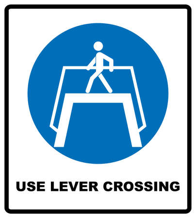 Use level crossing sign. Blue mandatory symbol. Pedestrian cross walking. Vector illustration isolated on white. White simple pictogram.