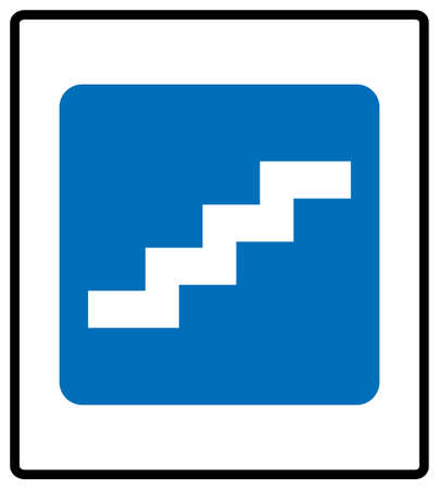 Stair up sign. Vector illustration isolated on white background. White simple pictogram icon in blue rectangle at white background. Mandatory informational symbol for public places. Ilustração