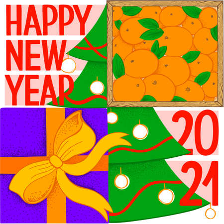 Happy New Year Greeting Card. Square vector illustration. Wood box with mandarin, purple gift box with bright orange bow, Christmas tree and hand drawn lettering