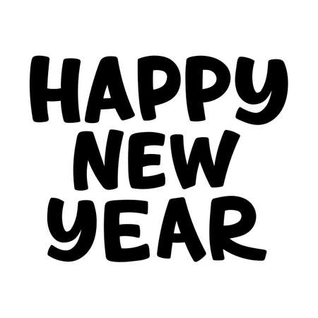Happy New Year Vector Lettering. Black white hand-drawn greeting card. Vector illustration isolated on white Ilustração