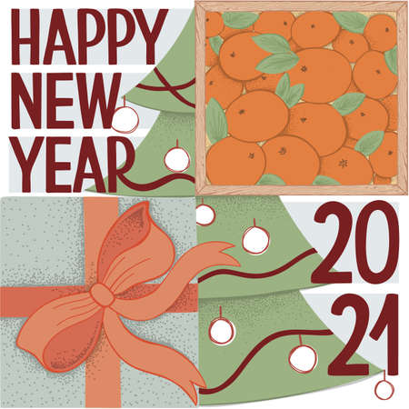 Happy New Year Greeting Card. Square vector illustration. Wood box with mandarin, gift box with bright orange bow, Christmas tree and hand drawn lettering Ilustração