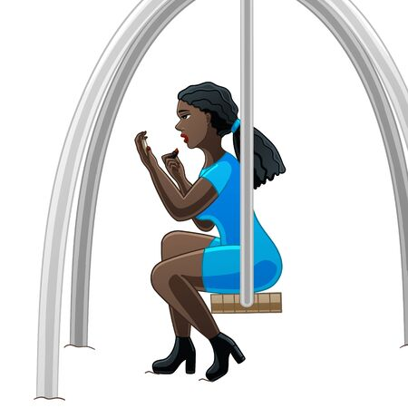 Dark-skinned girl does makeup sitting on a swing on a white background in the vector.