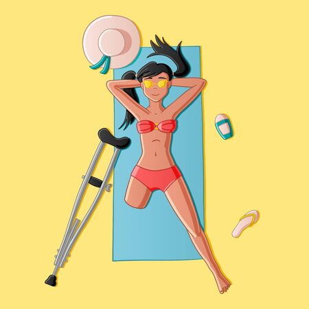 Sun-tanned legless girl lying on the sand top view on a yellow background in the vector. Illustration